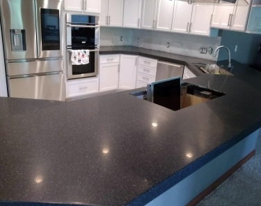 Corian coutnertop installation over existing cabinets