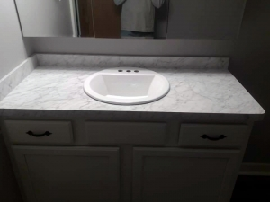 Bathroom laminate countertop and sink